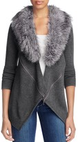 Design History Faux Fur Zip Cardigan