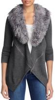 Design History Faux Fur Zip Cardigan