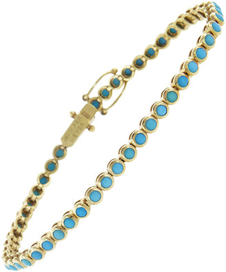 Jennifer Meyer Mini Turquoise Bezel Bracelet - Yellow Gold