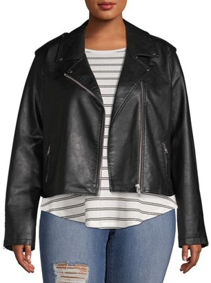 No Boundaries Juniors' Plus Size Vegan Leather Moto Jacket