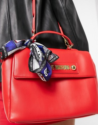 Love Moschino satchel bag with scarf in red