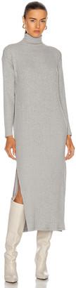 Enza Costa Sweater Rib Turtleneck Sheath Dress in Heather Grey | FWRD