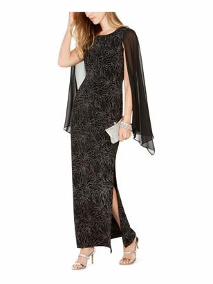Connected Apparel Womens Black Embellished Zippered Sleeveless Jewel Neck Maxi Sheath Evening Dress UK Size:14