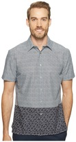 Perry Ellis Dip Hem Color Block Poplin Shirt Men's Long Sleeve Button Up