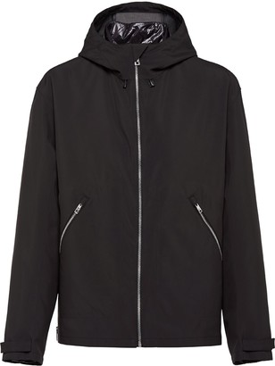 Prada Technical Fabric Zip-Up Hooded Jacket