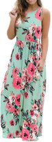 Soficy Women's Floral Print Round Neck Sleeveless Long Maxi Casual Dress(,XXL)