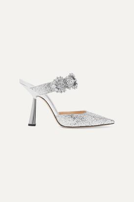 Jimmy Choo Smokey 100 Crystal-embellished Glittered Leather Mules - Silver