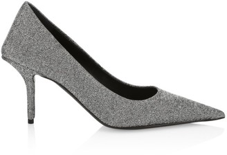 Balenciaga Square Knife Point-Toe Stiletto Glitter Pumps