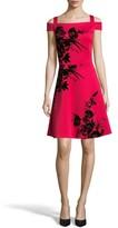 ECI Women's Flocked Scuba Knit Fit & Flare Dress