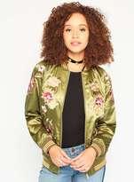 Miss Selfridge Green floral bomber jacket