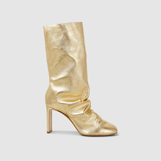 Nicholas Kirkwood Gold D'Arcy Metallic Mid-Calf Leather Boots Size IT 40.5