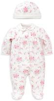 Little Me Infant Girls' Diamond Stitched Floral Footie & Hat Set - Sizes Newborn-9 Months