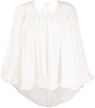Emilio Pucci V-back balloon-sleeve blouse