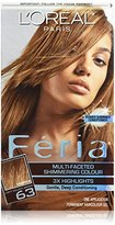 L'Oreal Feria Hair Color, 63 Light Golden Brown (Packaging May Vary)