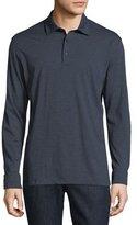 Ermenegildo Zegna Fine-Stripe Long-Sleeve Polo Shirt