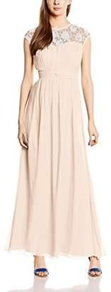 Little Mistress Women's Nude Sheer Lace Maxi Dress Beige