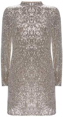 Mint Velvet Silver Sequin Mini Dress