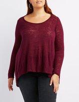 Charlotte Russe Plus Size Flyaway Slub Knit Tee