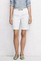 "Lands' End Women's Petite Mid Rise 10"" Bermuda Shorts-White"