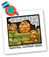 3dRose LLC qs_1670_1 Londons Times Funny Society Cartoons - Basketball Courtroom Drama - Quilt Squares