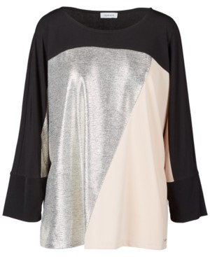 Calvin Klein Size Metallic Colorblocked Top