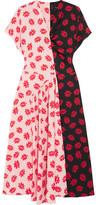 Simone Rocha Asymmetric Printed Crepe De Chine Midi Dress - Pastel pink
