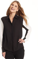 Vince Camuto Top, Long-Sleeve Colorblock High-Low Shirt