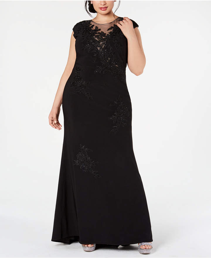 Plus Size Embroidered Illusion-Mesh Gown