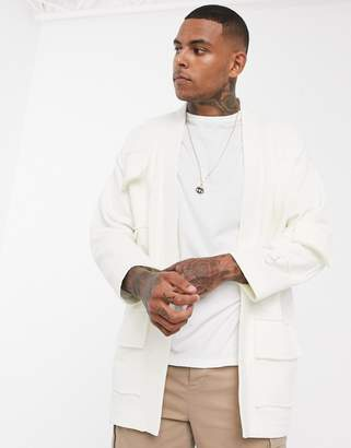 Asos Design DESIGN jersey kimono cardigan with utility pockets in off white-Beige