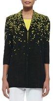 Misook 3/4-Sleeve Speckled-Shoulder Long Jacket, Plus Size