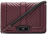 Rebecca Minkoff Chevron Quilted Small Love Crossbody Bag in Burgundy.