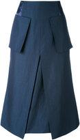 Aalto patch pockets A-line skirt - women - Linen/Flax/Viscose/Virgin Wool - 40