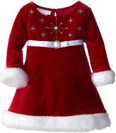Bonnie Baby Baby Girls' Stretch Velvet Santa Dress