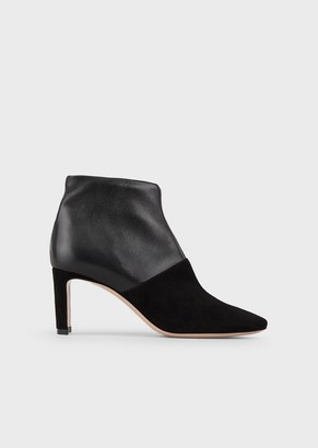 Giorgio Armani Ankle Boots In Leather And Suede With A Half Moon Heel
