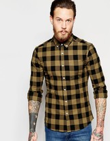 Asos Skinny Shirt With Buffalo Plaid In Camel With Long Sleeves