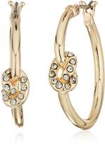 T Tahari Hoop with Crystal Knot on Side Hoop Earrings