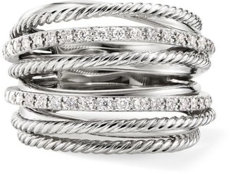 David Yurman Crossover Diamond & Sterling Silver Wide Ring