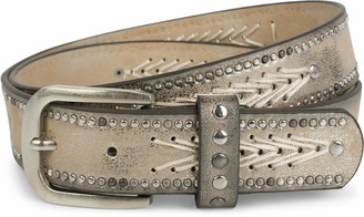 styleBREAKER studded belt with thread pattern and small flat studs vintage stud belt can be shortened unisex 03010077 size:90cm