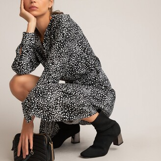 La Redoute Collections Polka Dot Midi Shirt Dress with Crew-Neck and Long Sleeves