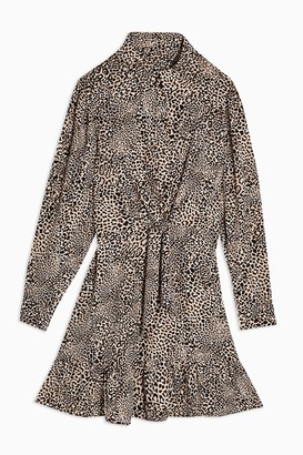 Topshop Leopard Print Tie Front Shirt Dress