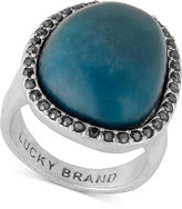 Lucky Brand Silver-Tone Pavé Blue Stone Statement Ring