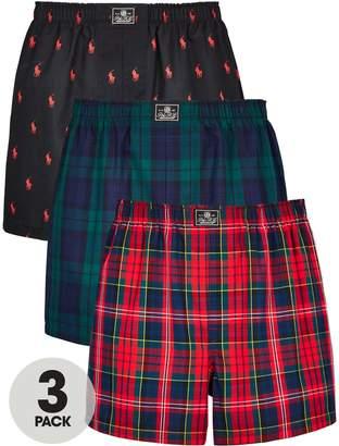 Polo Ralph Lauren Three Pack Woven Boxer Shorts - Multiple Colours