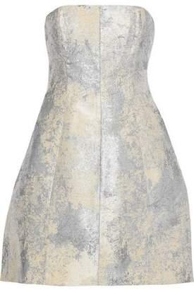 Halston Strapless Metallic Jacquard Mini Dress