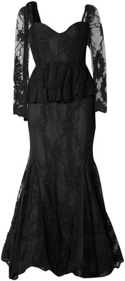 Brock Collection Diedre Ruffle-trimmed Embroidered Tulle Gown