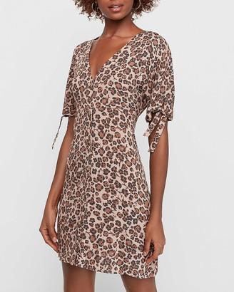 Express Floral Cheetah Print Tie Sleeve Button Front Shift Dress