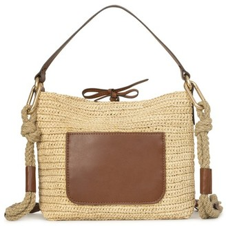 Vanessa Bruno Raffia and leather Holly pouch bag