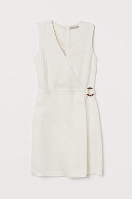 H&M Lyocell-blend Wrapover Dress - White