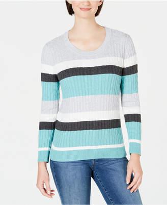 Karen Scott Veronica Striped Cotton Cable Sweater