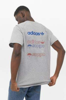 adidas Triple Trefoil Logo Grey T-Shirt - grey S at Urban Outfitters