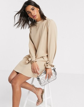 Vero Moda shift dress with tie sleeves in sand